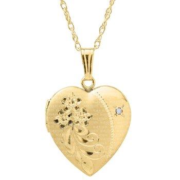 "Yellow Diamond Heart Shaped Locket- 18"""