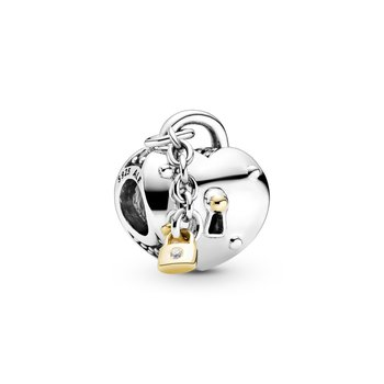 Two-Tone Heart and Lock Charm - FINAL SALE