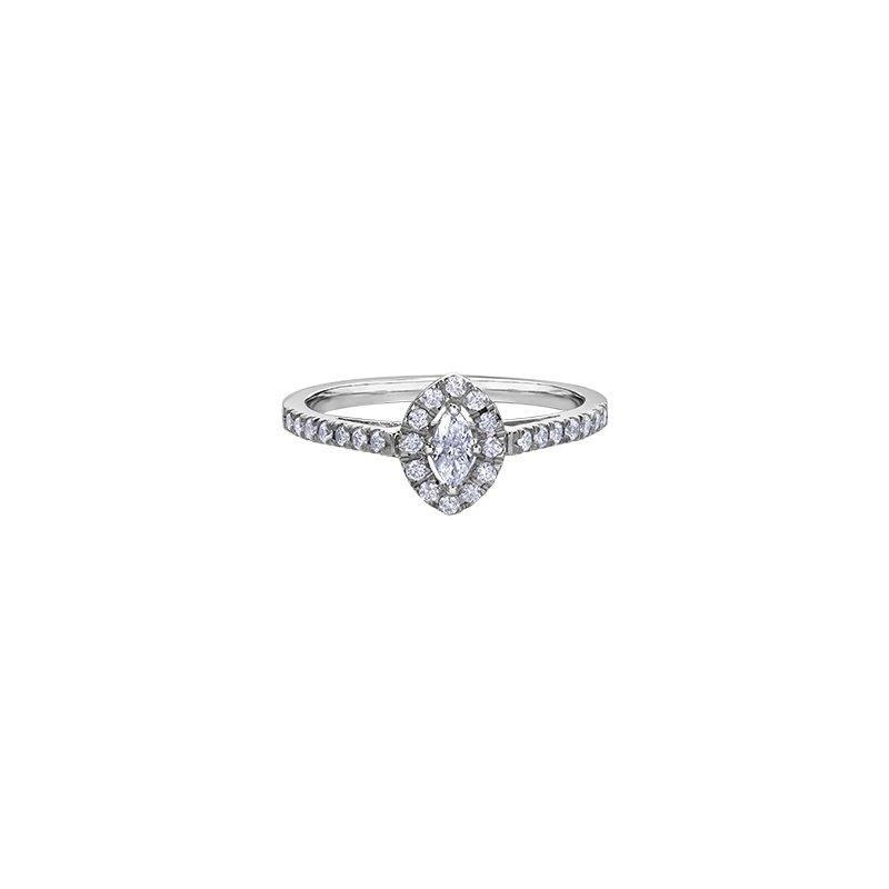 Diamond Days 10k White Gold Marquise Halo Engagement Ring