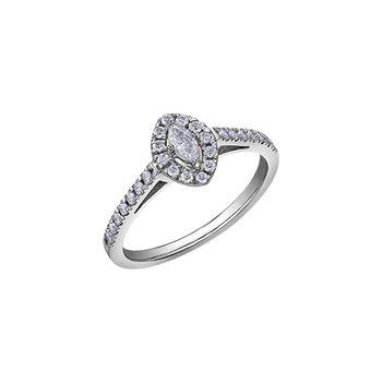 10k White Gold Marquise Halo Engagement Ring