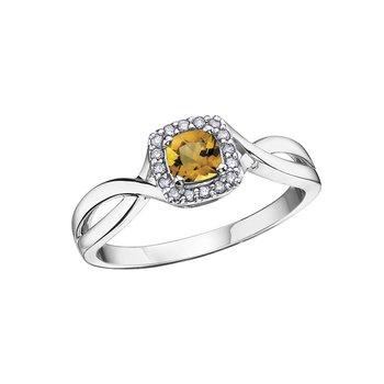 10K November Birthstone Halo Ring