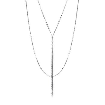 Sterling Silver Double Layer Multi Chain CZ Necklace
