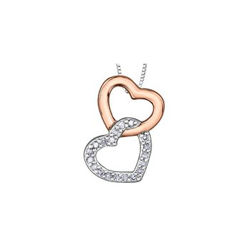 10K Double Heart Diamond Pendant