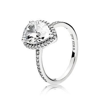 Sparkling Teardrop Halo Ring, size 7.5