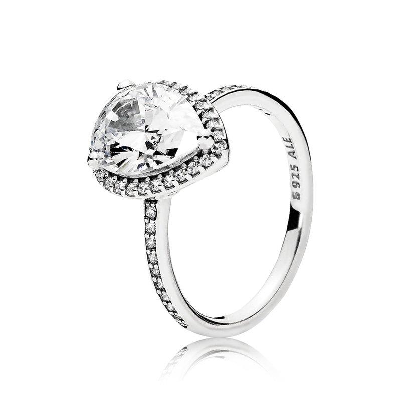 Pandora Sparkling Teardrop Halo Ring, size 7.5