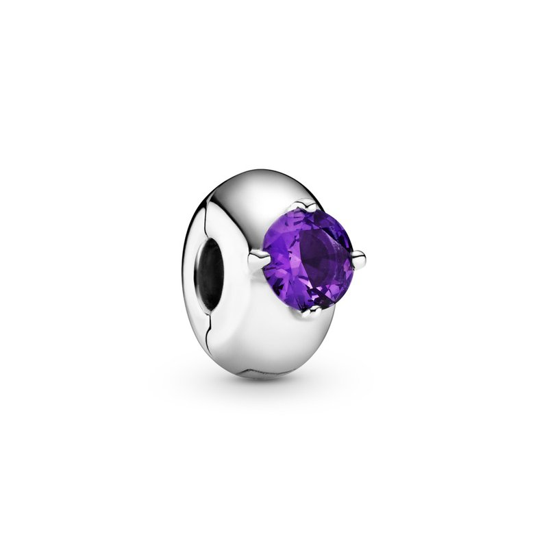 Pandora Purple Round Solitaire Clip Charm