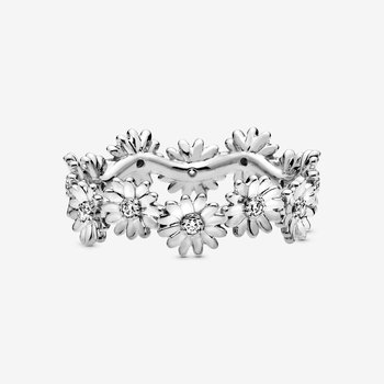 Sparkling Daisy Flower Crown Ring, size 6.0