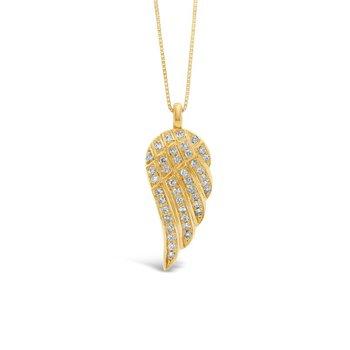 14k Angel Wing Diamond Pendant