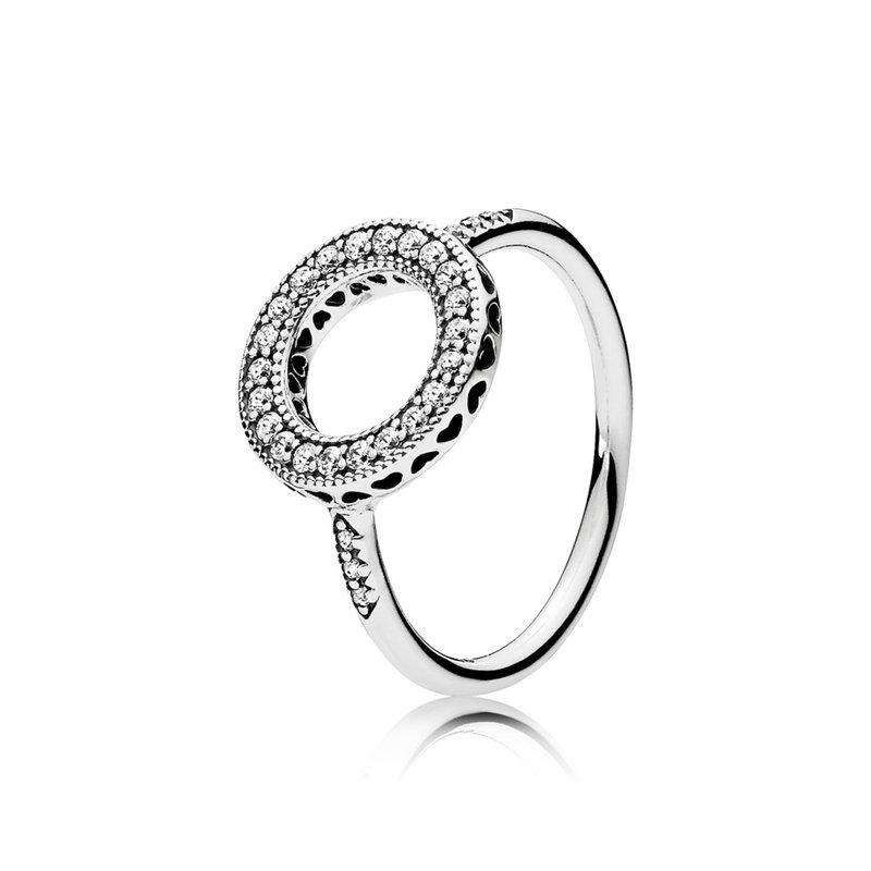 Pandora Sparkling Halo Ring, size 6.0