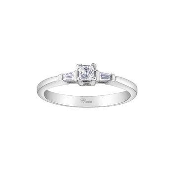 10k Princess Cut Engagement Ring, 0.26 TDW