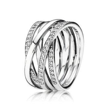 Sparkling & Polished Lines Ring, size 9.0
