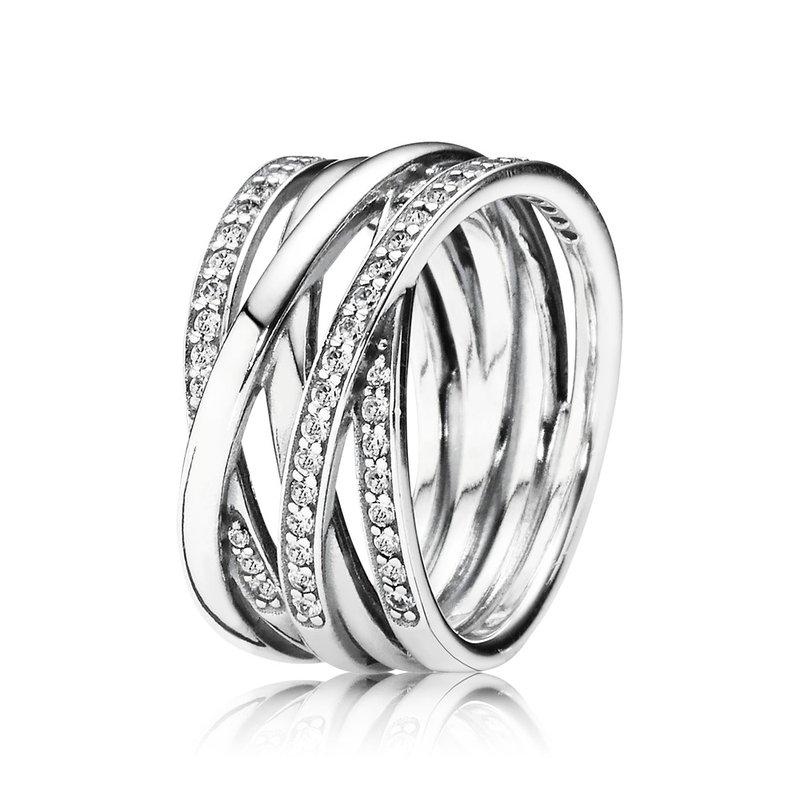 Pandora Sparkling & Polished Lines Ring, size 9.0