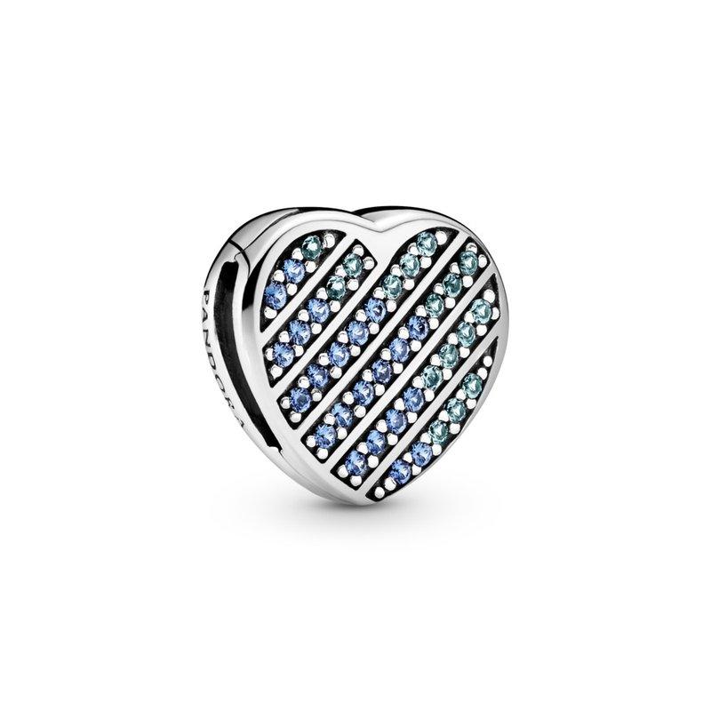 Pandora Reflexions, Blue Pavé Heart Clip Charm