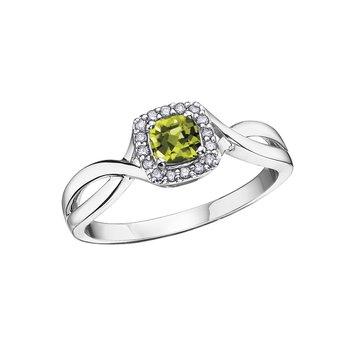 10k August Birthstone Halo Ring