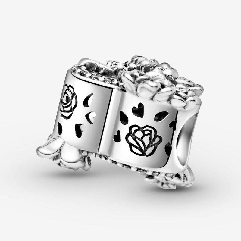 Pandora Open Heart & Rose Flowers Charm