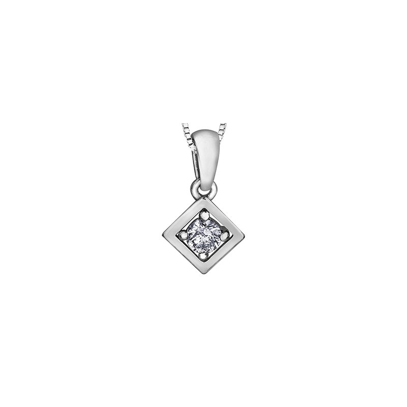 Forever Jewellery 10K Diamond Solitaire Pendant, 0.07 TDW