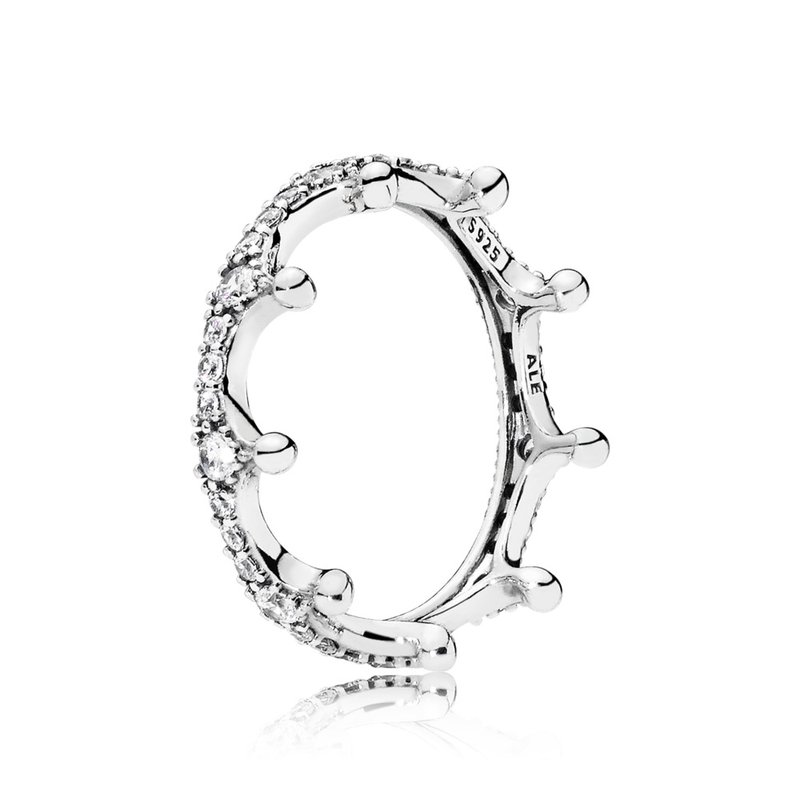 Pandora Clear Sparkling Crown Ring, size 4.5