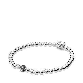 """Beads & Pave Bracelet, 8.3"""""""