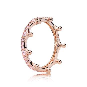 Pink Sparkling Crown Ring, size 7.0