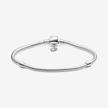 "Moments Daisy Flower Clasp Snake Chain Bracelet, 7.5"""