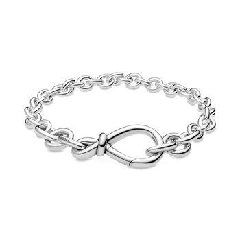 "Chunky Infinity Knot Chain Bracelet, 6.3"""