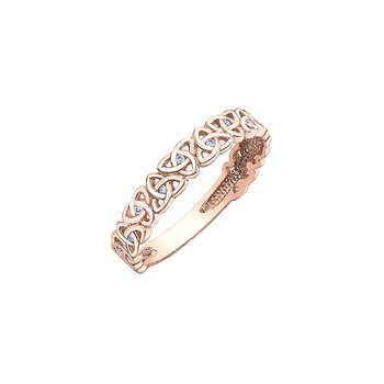 10K Rose Gold Trinity Knot Band 0.04ctw