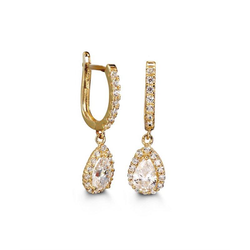 Bella 10k Yellow Bella Lux Dangle CZ Earrings