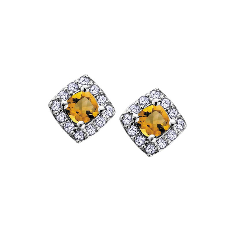 Diamond Days 10K November Birthstone Halo Stud Earrings