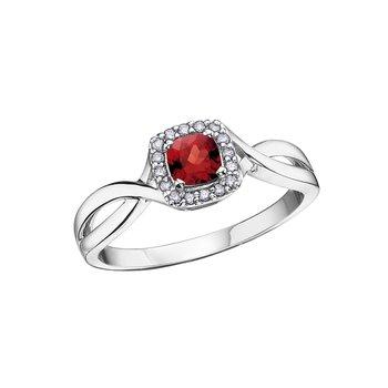 10K January Birthstone Halo Ring