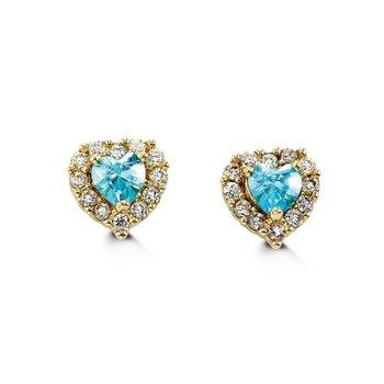 14K Heart CZ Stud Earrings