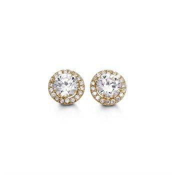 10K CZ Halo Stud Earrings