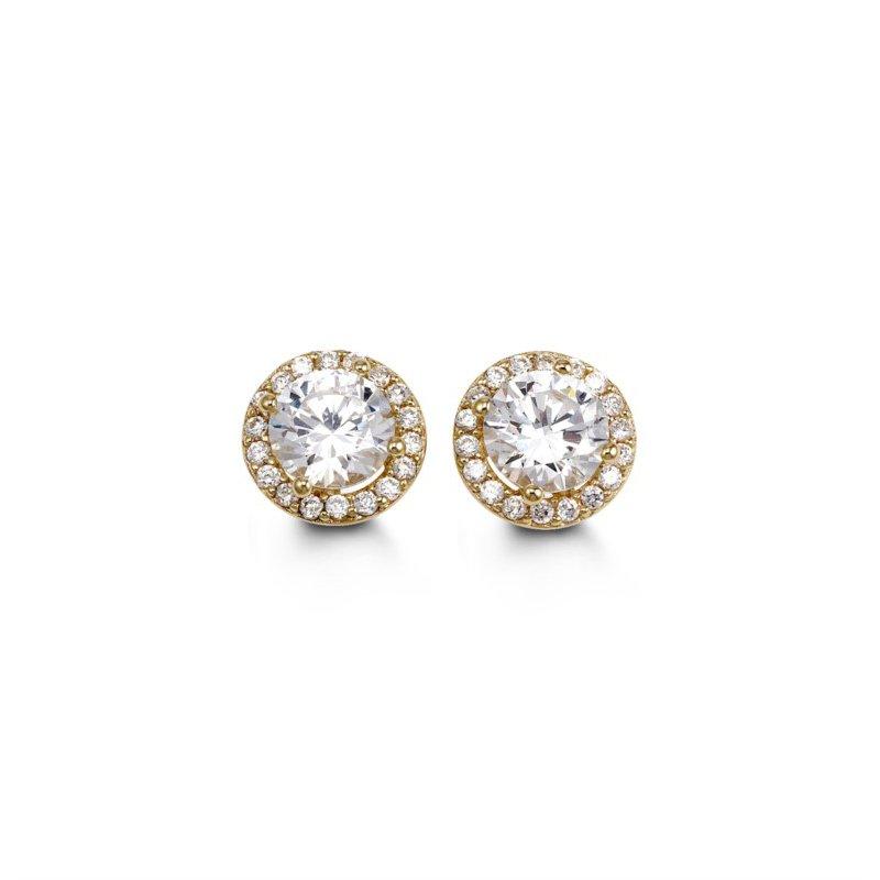 Bella 10K CZ Halo Stud Earrings