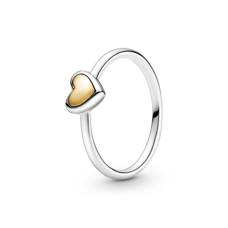 Pandora Domed Golden Heart Ring, size 7.0