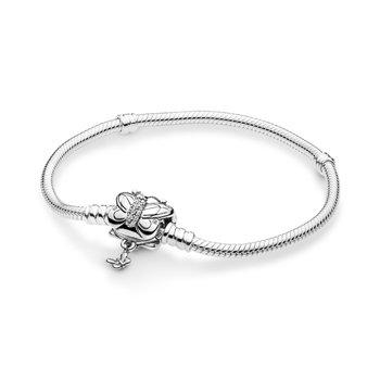 "Moments Butterfly Clasp Snake Chain Bracelet, 7.1"""