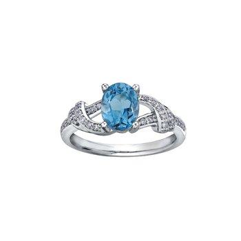 10K Blue Topaz & Diamond Ring
