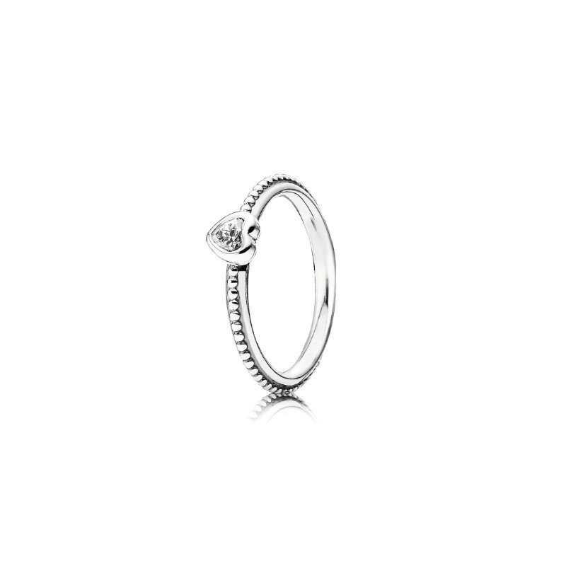Pandora Clear Heart Beaded Ring, size 9.0