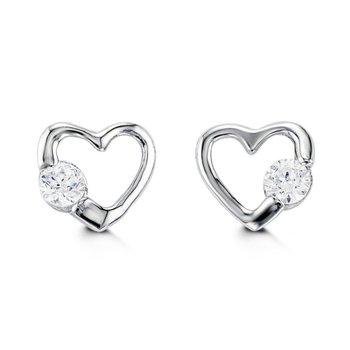 10K CZ Heart Stud Earrings