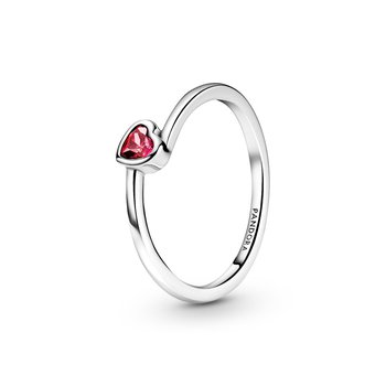 Red Tilted Heart Solitaire Ring, size 7.5