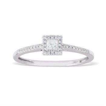 14K Princess Halo Engagement Ring, 0.20 TDW