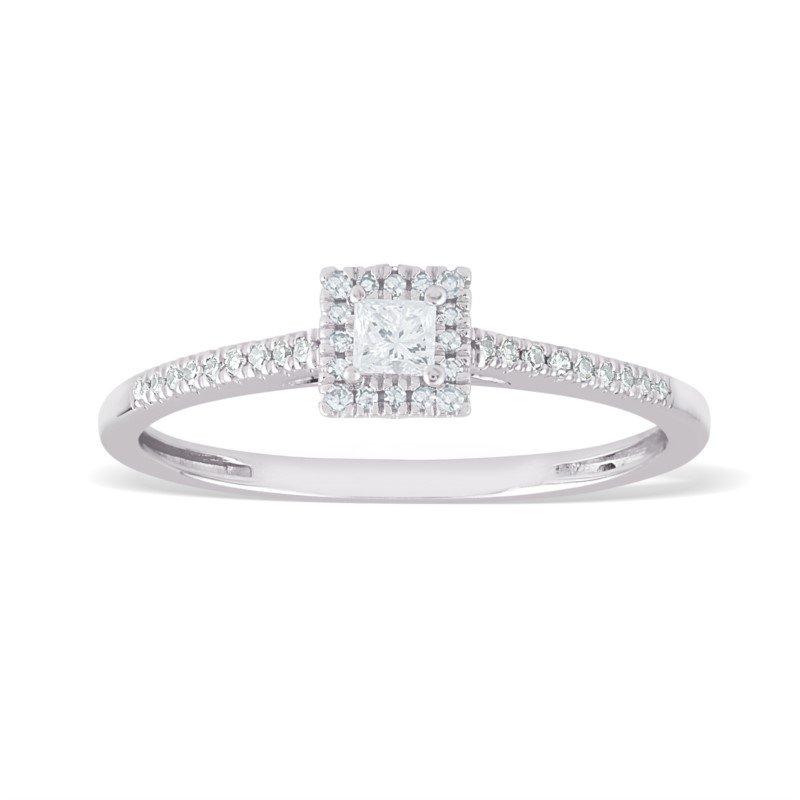 Paragems 14K Princess Halo Engagement Ring, 0.20 TDW