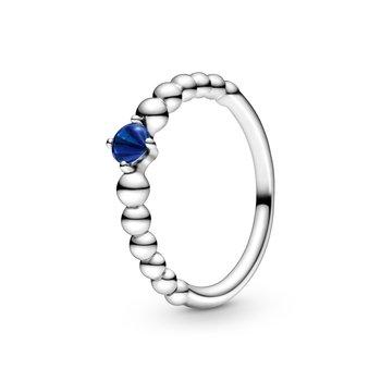 September Sea Blue Beaded Ring, size 6.0