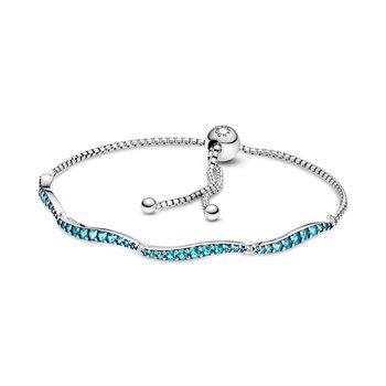 """Blue Wavy Slider Bracelet, 9.8"""" (adjustable)"""