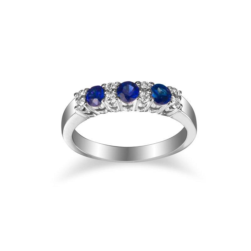 GNM Jewellery Collection 14k Diamond & Blue Sapphire Ring