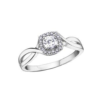 10K April Birthstone Halo Ring