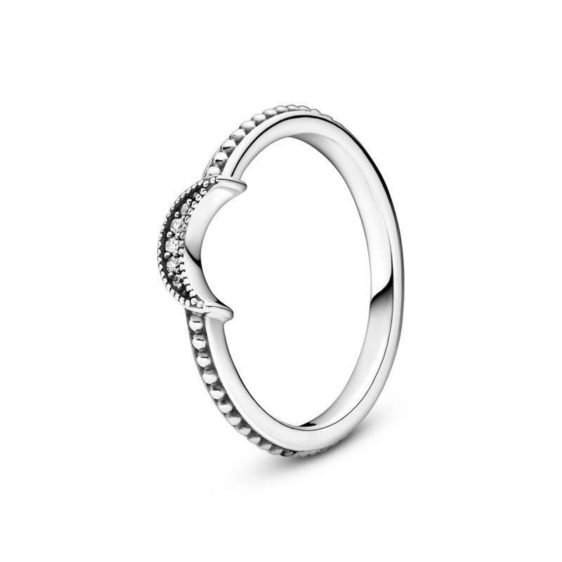 Pandora Crescent Moon Beaded Ring, size 7.0