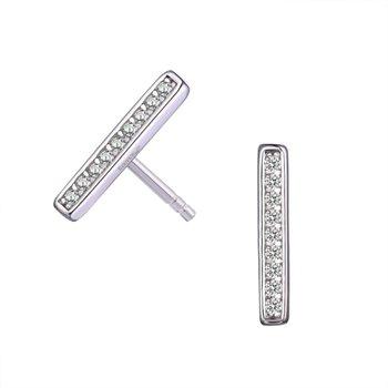 Silver CZ Bar Earrings