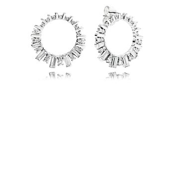 Sparkling Ice Cube Circle Stud Earrings - FINAL SALE