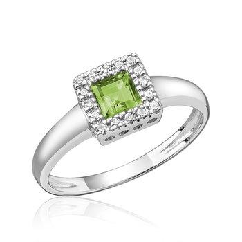 14K Princess Cut Peridot Ring