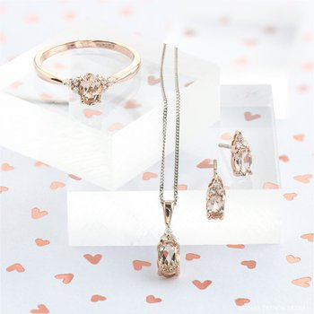 10K Morganite & Diamond Pendant
