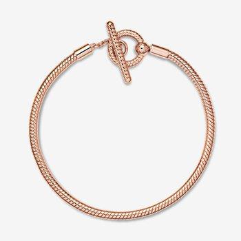 """Moments T-Bar Snake Chain Bracelet, 7.5"""""""